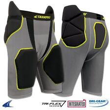 Champro Football Integrated Girdle w/Built-In Hip, Tail & Thigh Pads, Black/Grey