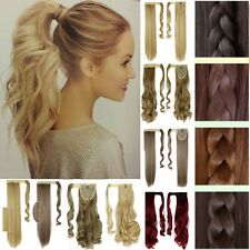 Clip In Ponytail Pony Tail Hair Extension Wrap On Hair Piece Wavy Straight CCM