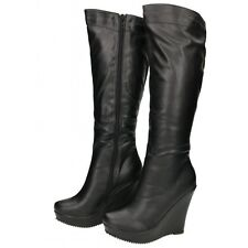 Ladies Black Faux Leather Knee High Wedge Heel Platform Stretchy Boots