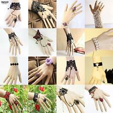 Sexy cute Lace Gothic Vintage Bracelet Ring Wrist Cuffs Fingerless Glove