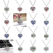 Family Gifts Crystal Love Heart Pendant Rhinestone Necklace Chain Jewelry Charm