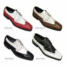 Mens' 2 tone Color Wing Tip Oxford High Quality Man-made Leather Dress Shoes by