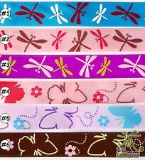 "5/8""16mm Mixed Cartoon Satin Ribbon Dragonfly Butterfly Craft 1/25/100 Yards Sew"