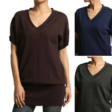 MOGAN Chic V-neck Dolman Short Sleeve SWEATER Loose-Fit Knit Tunic Pullover TOP
