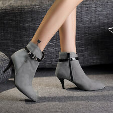 Womens Ankle Short Boots High Heels Platform Pointy Toe Stiletto Shoes Buckle