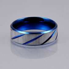 Men Blue Silver Brush Stainless Steel Traditional Wedding Band Ring 7mm Charming