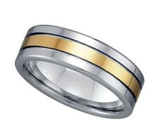 Geraud Men's Tungsten Gold Plated Inlay Polished 7mm Wedding Band Sz 7 to 14