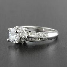Womens Solid 925 Sterling Silver CZ Micro Pave Setting 6mm Solitaire Ring 8mm
