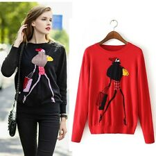Women's Thin Sweaters Pullovers Cartoon Girl Imitated Mink Cashmere Knitted Tops