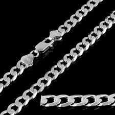 925 7mm Mens Sterling Silver Curb Chain Necklace Heavy Gifts 18 20 24 28 30 Inch