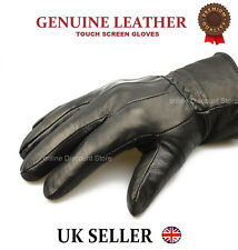 MENS TOUCH SCREEN REAL LEATHER GLOVES THERMAL LINED BLACK DRIVING WINTER GIFT