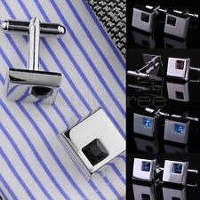 Pair Mens Wedding Business Shirt Silver Tone Square Alloy Rhinestone Cufflinks
