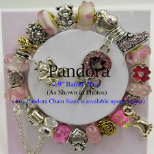 Authentic Pandora S925 ALE Sterling Silver Chain Bracelet with European Charms