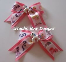 LOT 2 MY LITTLE PONY Super Cute CHEER BOWS PIGTAIL HAIR BOW SET  PIGGYTAIL SET