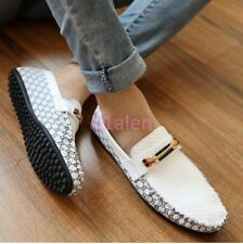 Mens Casual Shoes Driving Boat Loafer Leather moccasin-gommino Chic Flats Grids