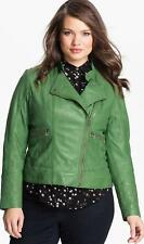 Womens Ladies Girls Soft Green Real Leather Biker Style Jacket