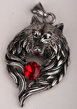 Wolf necklace pendant for men women stainless steel biker jewelry GN41 US