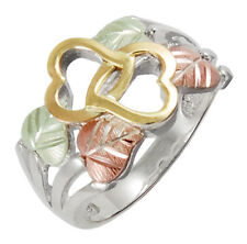 10K Black Hills Gold Hearts on Sterling Silver Ring Size 4 to 10