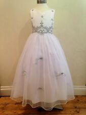 New White+Silver Flowergirl Pageant Communion Wedding Bridesmaid Dress Sz 7-14