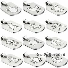 """Men Women 12 Constellation Zodiac Dog Tag Stainless Steel Pendant Necklace 22"""""""
