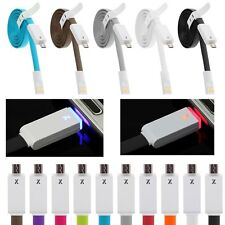 1M LED Light Flat Micro USB Charger Cable Data Sync For Android Smart Cell Phone