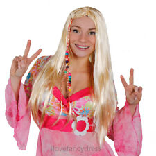 LONG BLONDE HIPPY WIG BRAIDED 60S 70S HIPPIE FANCY DRESS COSTUME ACCESSORY
