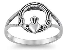 STERLING SILVER Baby RING W/CZ Faux Garnet Claddagh pinky right hand
