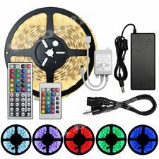 5M 10M 15M 5050 SMD Waterproof LED Strip Light + 44 Key IR Remote +12V 5A Power