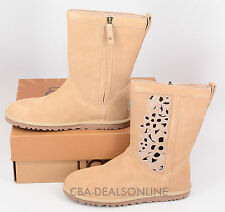 NWT Womens UGG Lo Pro Floral Cutout Suede Leather Boots Sand Tan Brown Size 6, 7