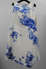 New LELA ROSE Floral Print blue ivory Asymmetric Spiral dress 4