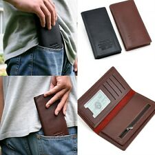 New Mens Long Casual Real Leather Wallet Pockets Card Clutch Cente Bifold Purse