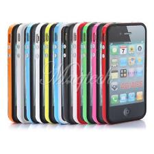 TPU Bumper Frame Silicone Skin Case with Metal Side Button For Apple iPhone 4 4S