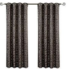 "Becket Grey Blackout Weave Embossed Grommet Window Curtain Panel (104"" x 84"")"