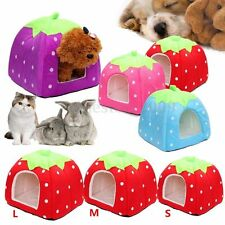 Cute Soft Strawberry Pet Dog Cat Bed Nest House Kennel Doggy Warm Cushion Basket