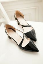 New Womens Shoes Pointed Toe Patent Leather Block High Heels Plus Size Party
