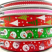 "1""25MM 3/8""9MM Christmas Tree Snowman Line Grosgrain Ribbon Craft 5/25Yards"