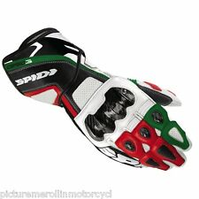 """SPIDI """"CARBO 3"""" MOTORCYCLE RACE TRACK DAY GLOVES RED WHITE GREEN """"ITALY COLOURS"""""""