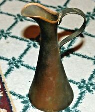 Vintage Arts & Crafts Miniature Brass Copper Pitcher W/Handle-Marked Stamped