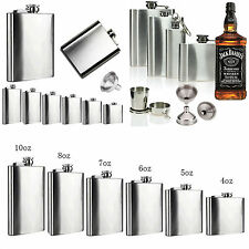 2 6 8 10 18oz Stainless Steel Hip Flasks Liquor Whiskey Alcohol Drink Funnel Cup