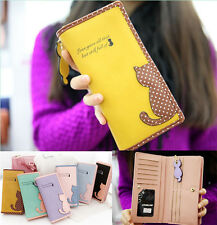 women leather wallet cat purse clutch wallet long card holder mobile bag 2015