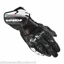 """LATEST SPIDI """"CARBO 3"""" MOTORCYCLE RACE TRACK DAY GLOVES BLACK WHITE """"CARBO3"""""""