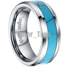 8mm Mens Tungsten Carbide Turquoise Inlay Wedding Band Ring Jewelry Size 8-13