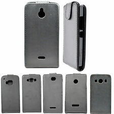 Black Magnetic Snap On Leather Case Flip Hard Cover Skin For Samsung LG Sony HTC