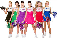 LADIES HIGH SCHOOL CHEERLEADER COSTUME AND POM POMS ADULT CHEER LEADER UNIFORM