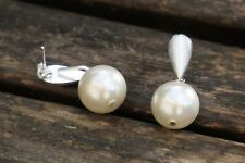 Sterling Silver Earrings with Black or White Shell Pearl, Pearl Earrings