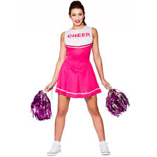PINK HIGH SCHOOL CHEERLEADER COSTUME AND POM POMS LADIES CHEER LEADER UNIFORM
