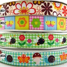 "22mm(7/8"") Mixed Spring Flower Cartoon Grosgrain Ribbon 2 Yard 5 Yard 100 Yard"