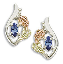 Black Hills Gold womens silver earrings genuine tanzanite & synthetic birthstone
