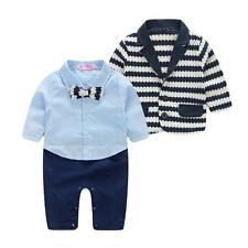 Baby Boys Striped Gentlemen Tie 2pcs Clothing Set Blazer + Romper Suit Bodysuit