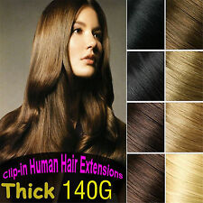 CA 140g Deluxe Thick Clip in 100%Real Human Hair Extensions,Black,Brown,Blonde